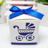 Laser Cut Baby car Baby Shower Candy Favor Box Girl Birthday Party Candy Box with ribbon Sweet Wedding Decoration Candy 50pcs