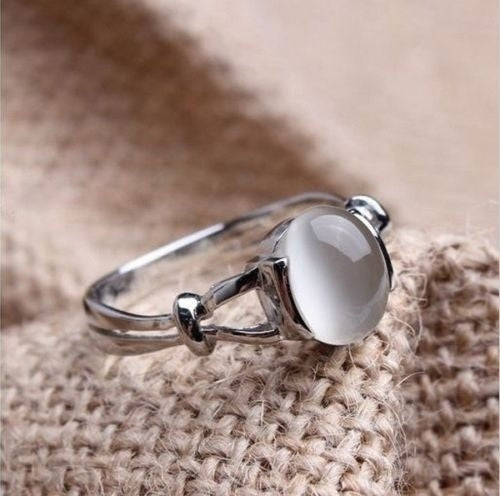 Twilight Moonstone Opal Gemstone Silver Ring Gifts