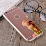 Luxury Mirror Phone Case for iPhone X Cases for iPhone 4 4S 5 5S 6 6S 7 8 Plus Back Cover Soft TPU Full edge Protection Cases