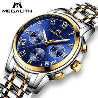 MEGALITH Watches Men Waterproof Stainless Steel Luxury Analogue Wrist Watches Chronograph Date Sport Quartz Watches Montre Homme