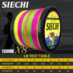SIECHI 8 Strands 1000M 500M 300M PE Braided Fishing Line tresse peche Saltwater Fishing Weave Superior Extreme Super Strong