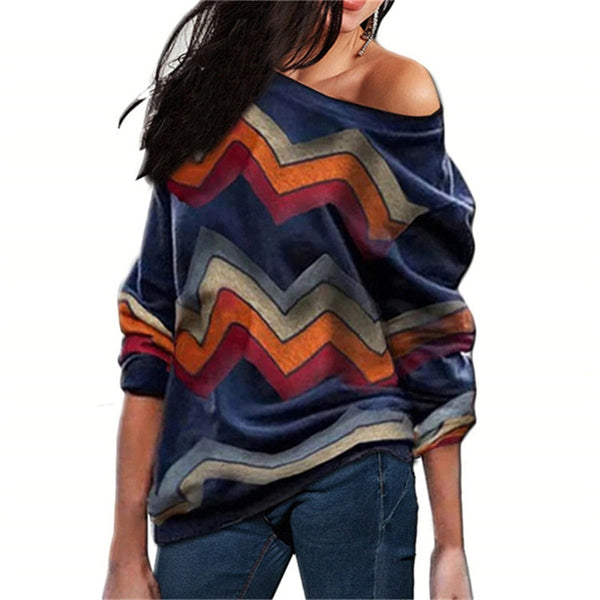 Women Blouses Off Shoulder Tops Striped Print Pullover Jumpers Casual Knitted Tops Long Sleeve Blouse Shirt Camiseta Mujer