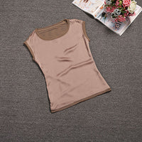 Summer women blouses 2019 new casual chiffon silk blouse slim sleeveless O-neck blusa feminina tops shirts solid 6 color  Y048