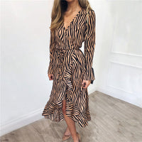 Summer Long Dresses 2019 Women Zebra Print Beach Chiffon Dress Casual Long Sleeve V Neck Ruffles Elegant Party Dress Vestidos