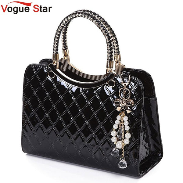 Vogue Star Brand bag cute 2019 New Fashion Designer  PU Leather Tote Shoulder Bag Handbag Ladies Messenger chain plaid  YK40-964