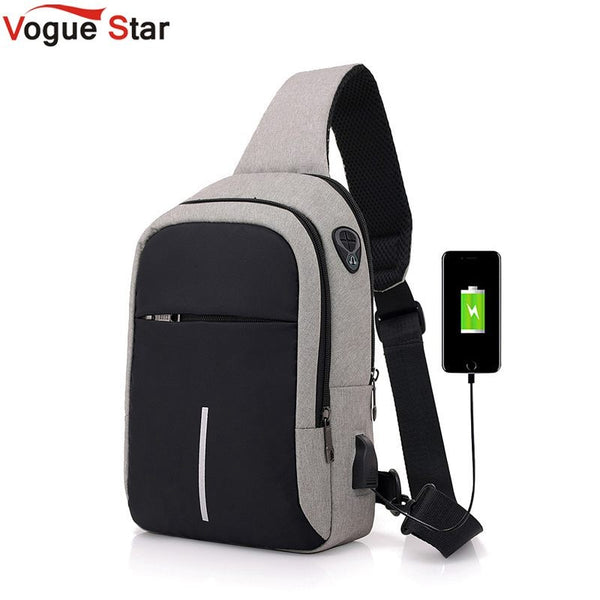 small usb charge one shoulder bag men messenger bags male waterproof sling chest bag 2019 new bagpack cross body bags L52