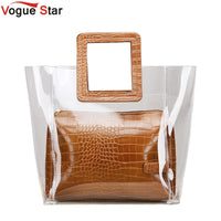 2019 New Summer PVC Transparent Lady Handbag and Purse Jelly Women's Beach Bag Crocodile Waterproof Brand Design Women Tote L61