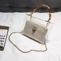 2019 Handbag With Bamboo Handle Summer Small Chain Crossbody Bags Ladies Straw Beach Bags Transparent Bag For Women L16