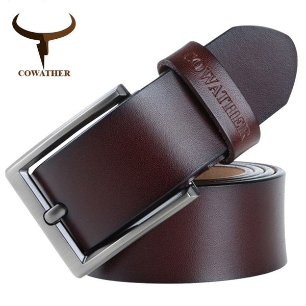 COWATHER 2019 men belt cow genuine leather luxury strap male belts for men new fashion classic vintage pin buckle