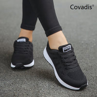 Brand Women Pink White Flat Sneakers Shoes Tenis Feminino Fashion Mesh Walking Shoes Comfortable Woman Casual Jogging Shoes
