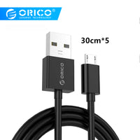 ORICO Micro USB 2.0 Charging Data usb cable charging cable for Smartphones 30cm*5 - Black / White for redmi k20 pro