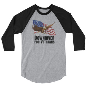 Downriver For Veterans 3/4 sleeve raglan shirt (10 colors)