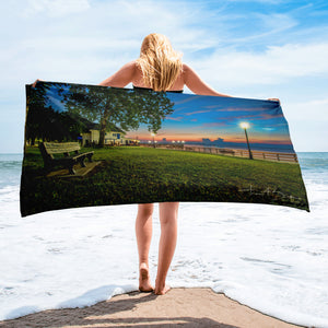 Bishop Park Wyandotte MI Park Bench Sunrise Beach Towel