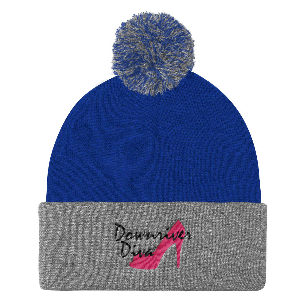 Downriver Diva Embroidered Pom Pom Knit Cap (2 colors)