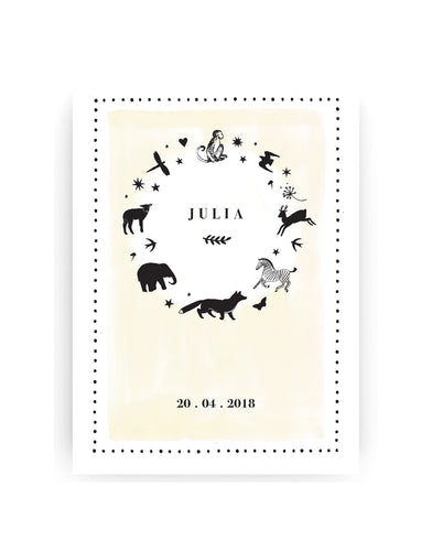 Birth Announcement Cards - Ring of Animals