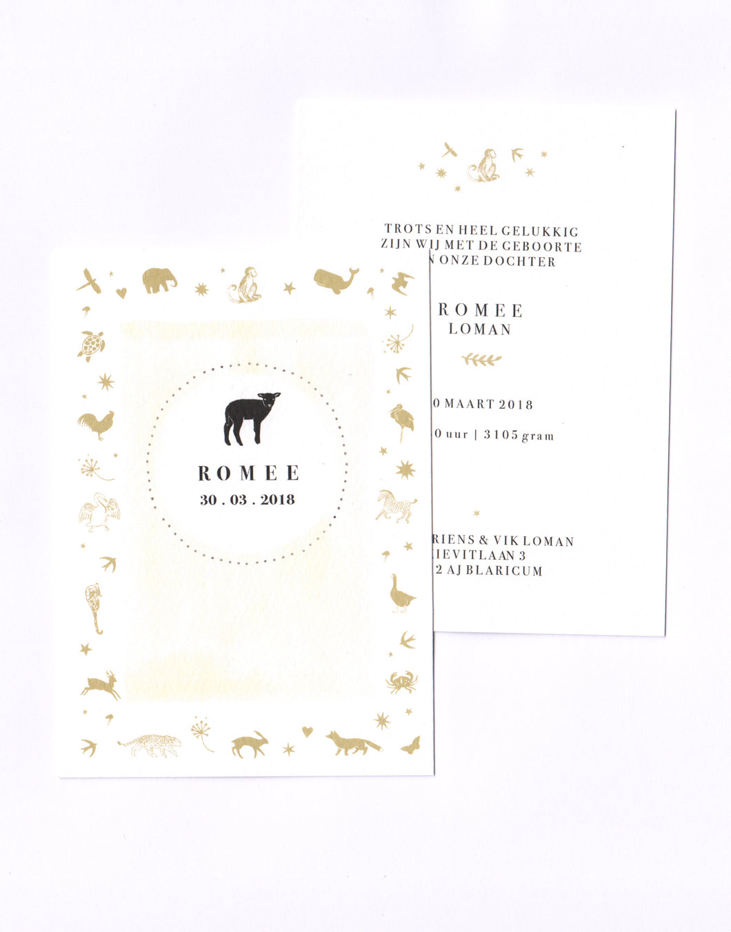 Birth Announcement Cards - Centre animal