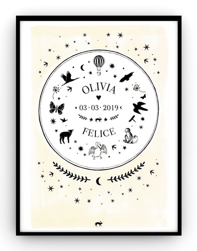 Memorial POSTER - Air balloon with birds and animals
