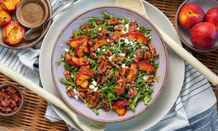 Grilled Peach and Bacon Salad with Maple Vinaigrette | Slow-Cooked Recipes You Need To Try In Lockdown | Outdoor Concepts NZ