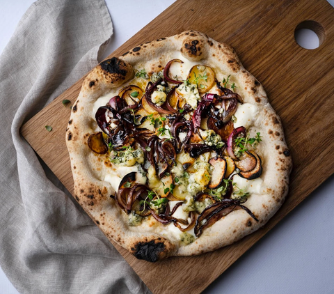 Potato, Blue Cheese & Balsamic Red Onion Pizza | ooni pizza oven