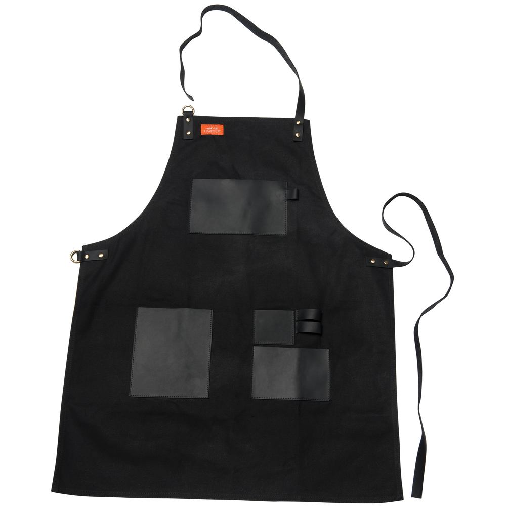 TRAEGER APRON - BLACK CANVAS AND LEATHER