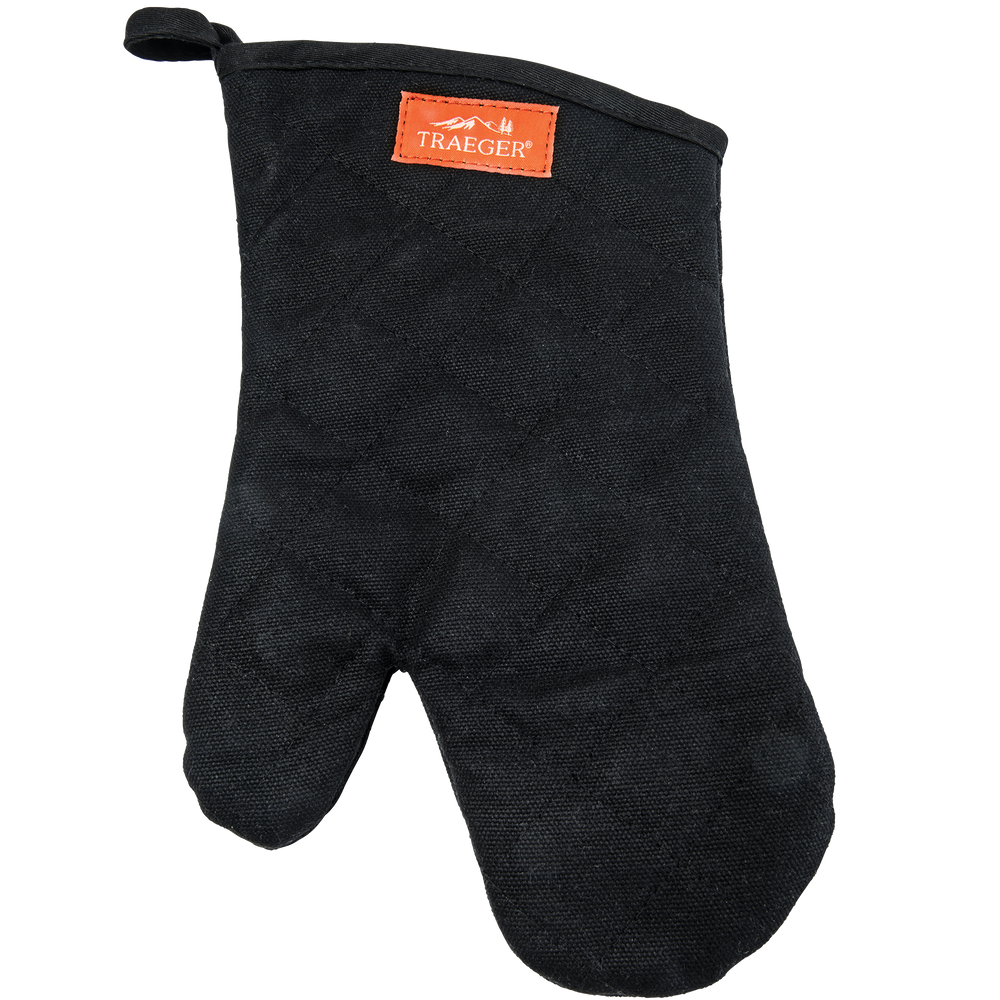 TRAEGER BBQ MITT - BLACK CANVAS AND LEATHER