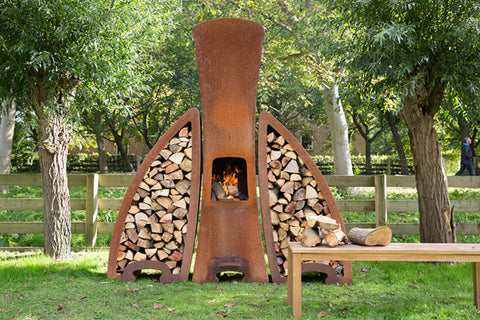 SEBIOS TENDU SET BLACK FIREPLACE | Outdoor Fires NZ | Sebios NZ | indoor wood, Outdoor Fires | Outdoor Concepts