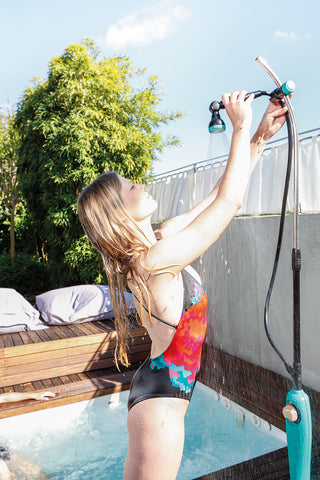 GF Sunny Style Premium Solar Shower Blue | Garden NZ | GF Garden NZ | outdoor shower | Outdoor Concepts