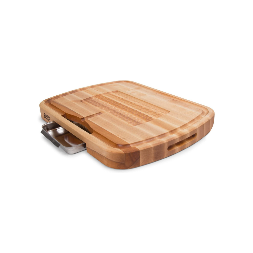 BOOS BLOCK CB1053-1M2418225 CARVING COLLECTION REVERSIBLE MAPLE CUTTING BOARD WITH JUICE GROOVE AND PAN 61 CM x 46 CM | BBQs NZ | John Boos & Co. NZ | Accessories, Cutting Board | Outdoor Concepts