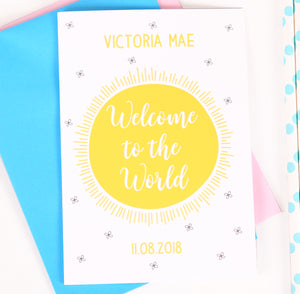Personalised Christening Or New Baby Sun Card