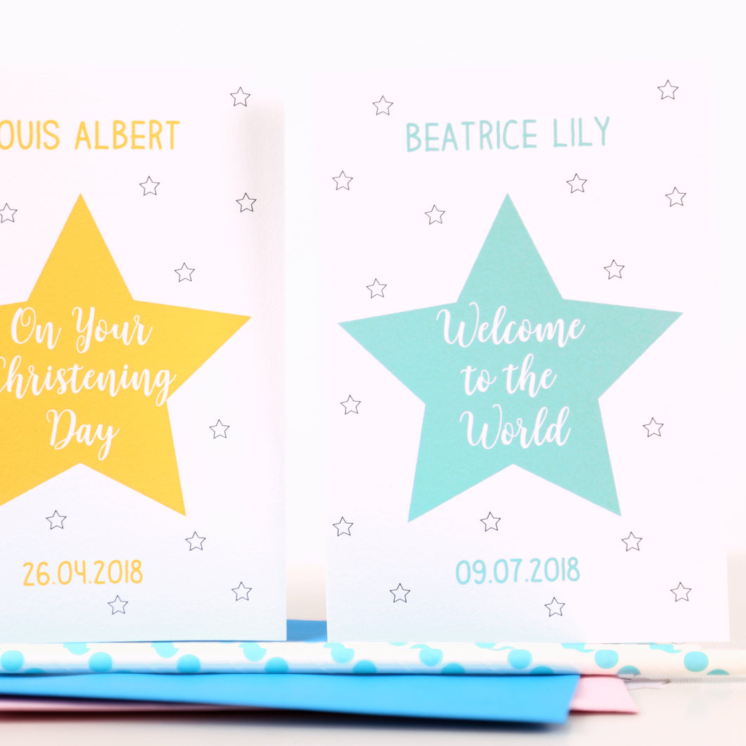 Personalised Christening Or New Baby Star Card
