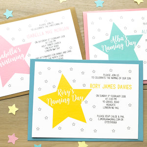 Personalised Christening Or Naming Day Star Invitations