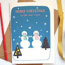 Personalised Snowman Couple Christmas Card