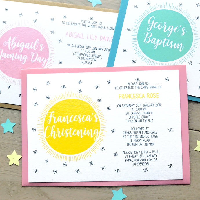 Personalised Christening Or Naming Day Sun Invitations