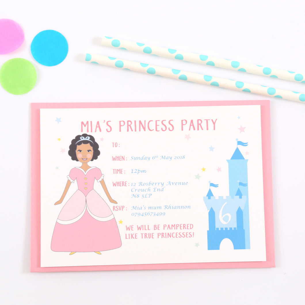 Princess Personalised Birthday Party Invitations
