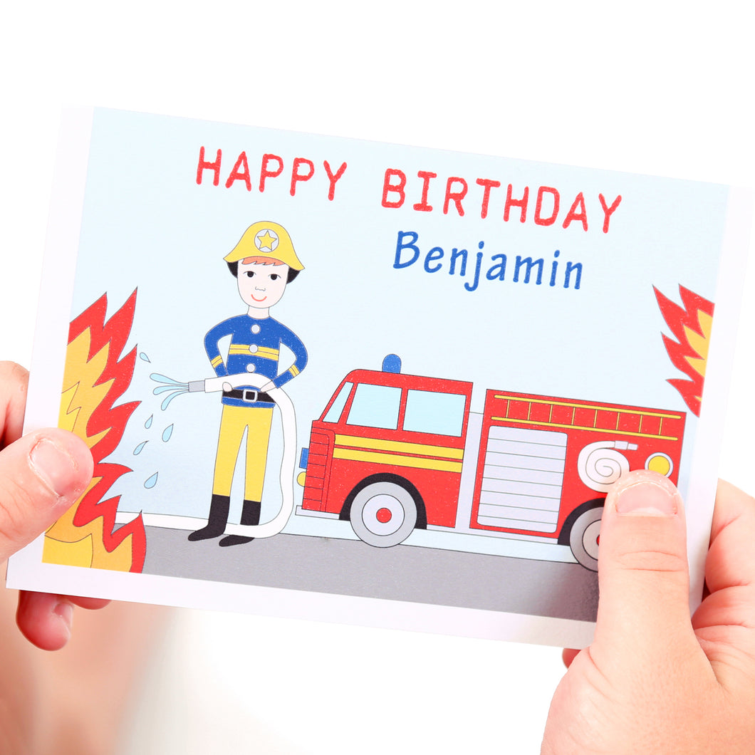 Firefighter Personalised Child Birthday Card