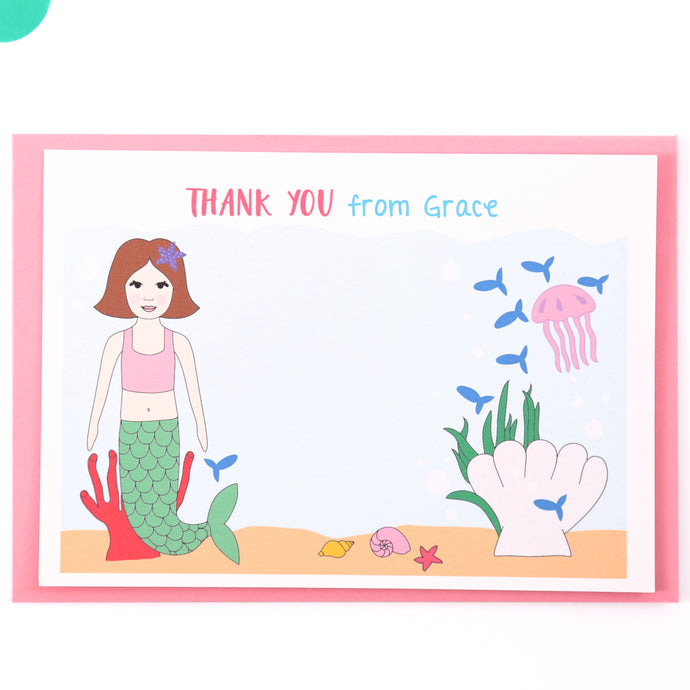 Mermaid Personalised Thank You Note Cards
