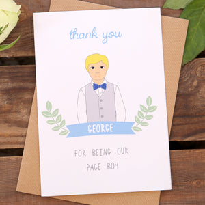 Page Boy Personalised Thank You Or Will You Be Card