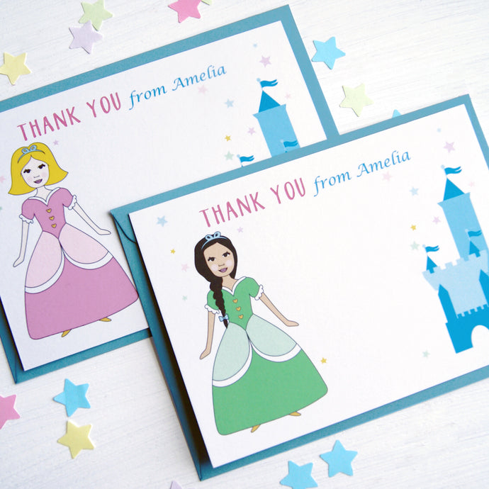 Princess Personalised Thank You Note Cards