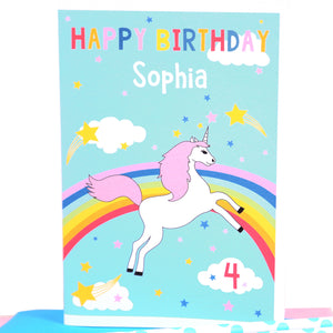 Rainbow Unicorn Personalised Birthday Card