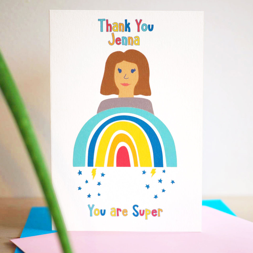 Personalised Rainbow Woman Charity Card