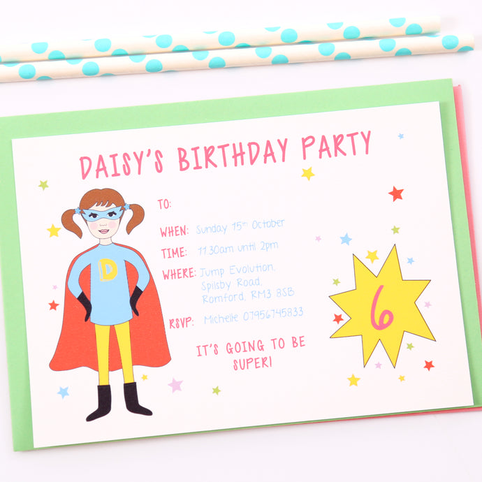 Superhero Girl Personalised Party Invitations