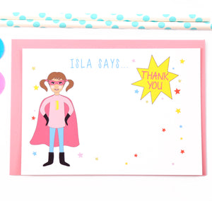 Superhero Girl Personalised Thank You Note Cards - personalised cards and invitations by superfumi