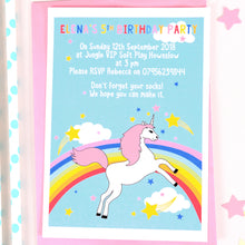 Rainbow Unicorn Personalised Party Invitations