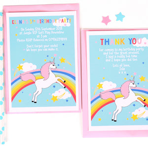 Rainbow Unicorn Personalised Thank You Note Cards