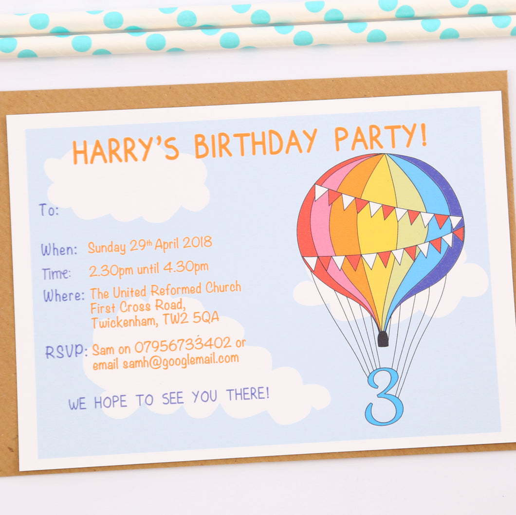 Rainbow Balloon Personalised Birthday Party Invitations