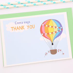 Rainbow Balloon Personalised Thank You Note Cards