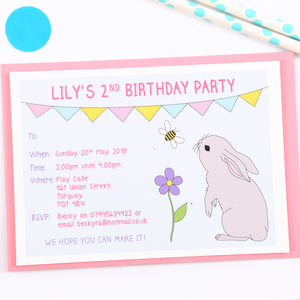 Bunny Personalised Birthday Party Invitations