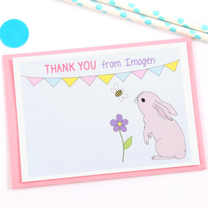 Bunny Personalised Thank You Note Cards
