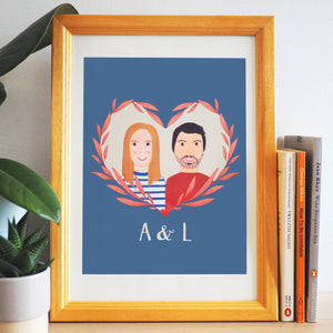 Hand Painted Personalised Couple Portrait Print
