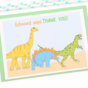 Dinosaurs Personalised Thank You Note Cards